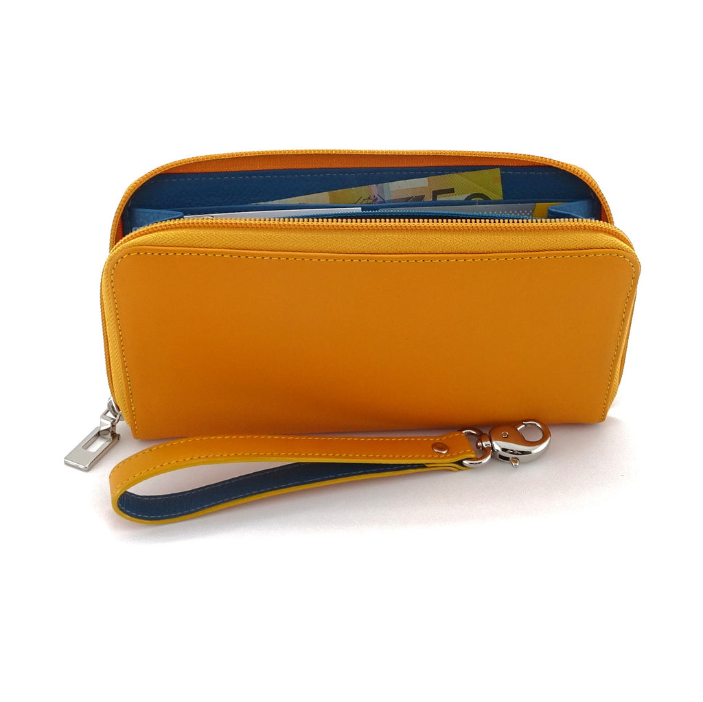 Victoria  Smooth mango leather ladies zip around purse azure lining side view zip open fully loaded