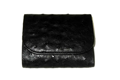 Dorothy  Trifold purse - Black ostrich skin leather ladies wallet front viewe