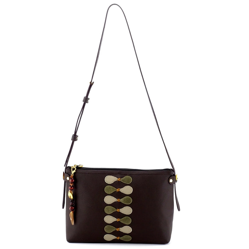 Rosie Chocolate leather Leather details small tote bag leather lined showing shoulder drop