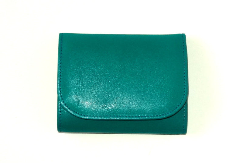 Dorothy  Trifold purse - Teal leather ladies small wallet front view
