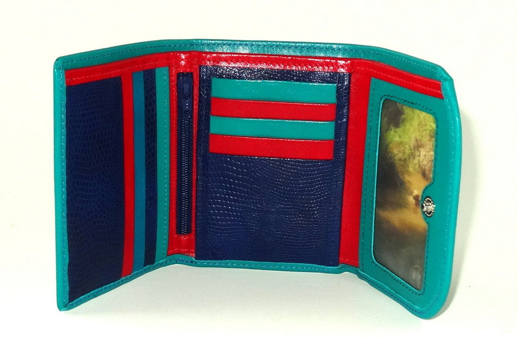 Dorothy  Trifold purse - Teal leather ladies small wallet inside picture window