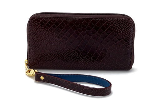Victoria  Burgundy snake print leather ladies zip around purse view side 2