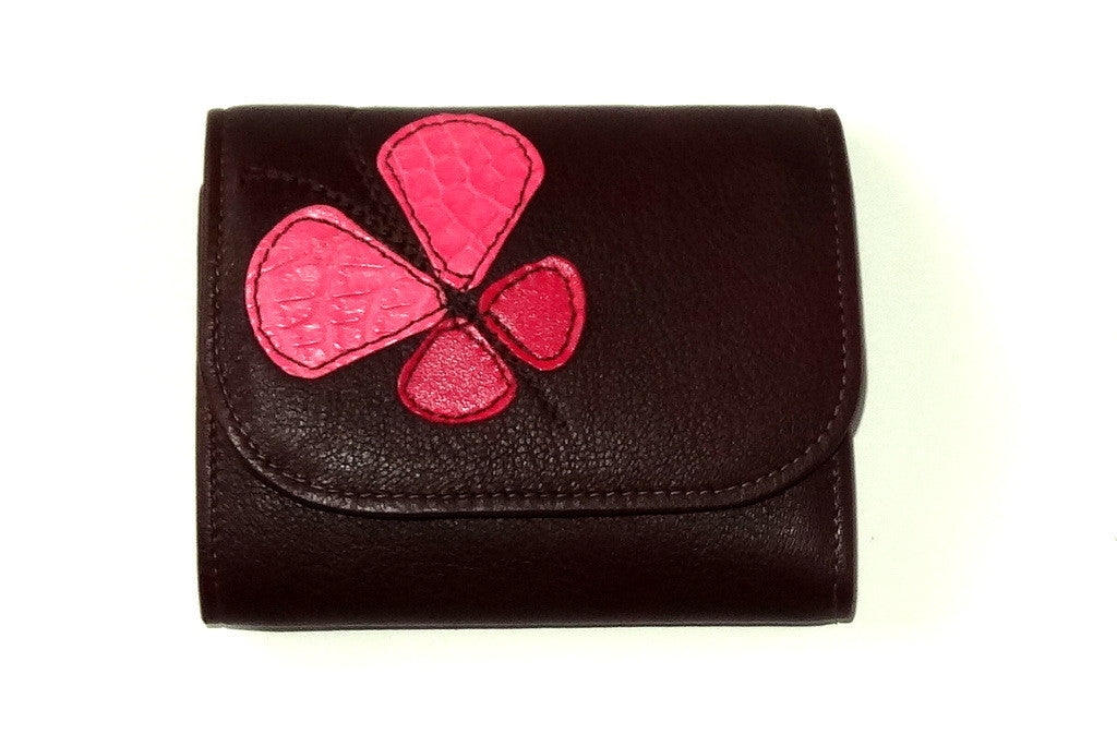 Dorothy  Trifold purse - Brown leather pink butterfly ladies wallet front view