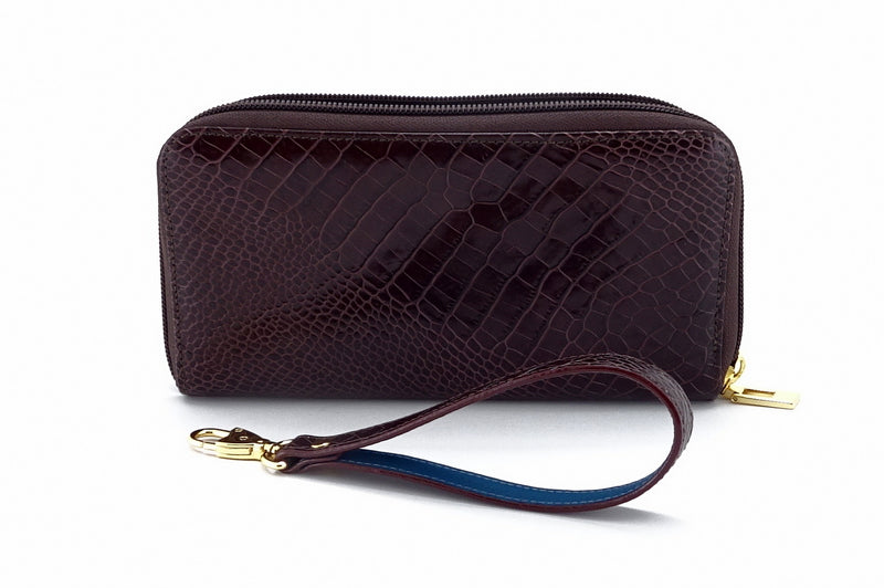 Victoria  Burgundy snake print leather ladies zip around purse zip open side view