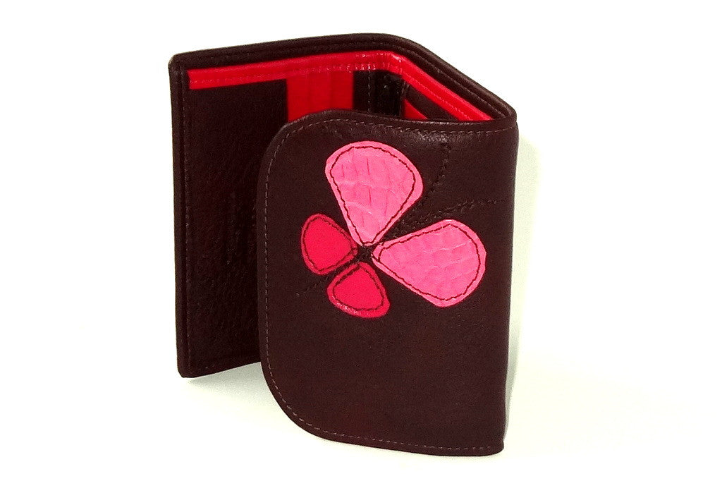 Dorothy  Trifold purse - Brown leather pink butterfly ladies wallet