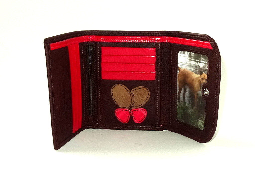 Dorothy  Trifold purse - Brown leather pink butterfly ladies wallet inside picture window