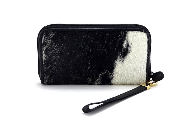Victoria  Black & white hair on cowhide ladies zip around purse side1 view