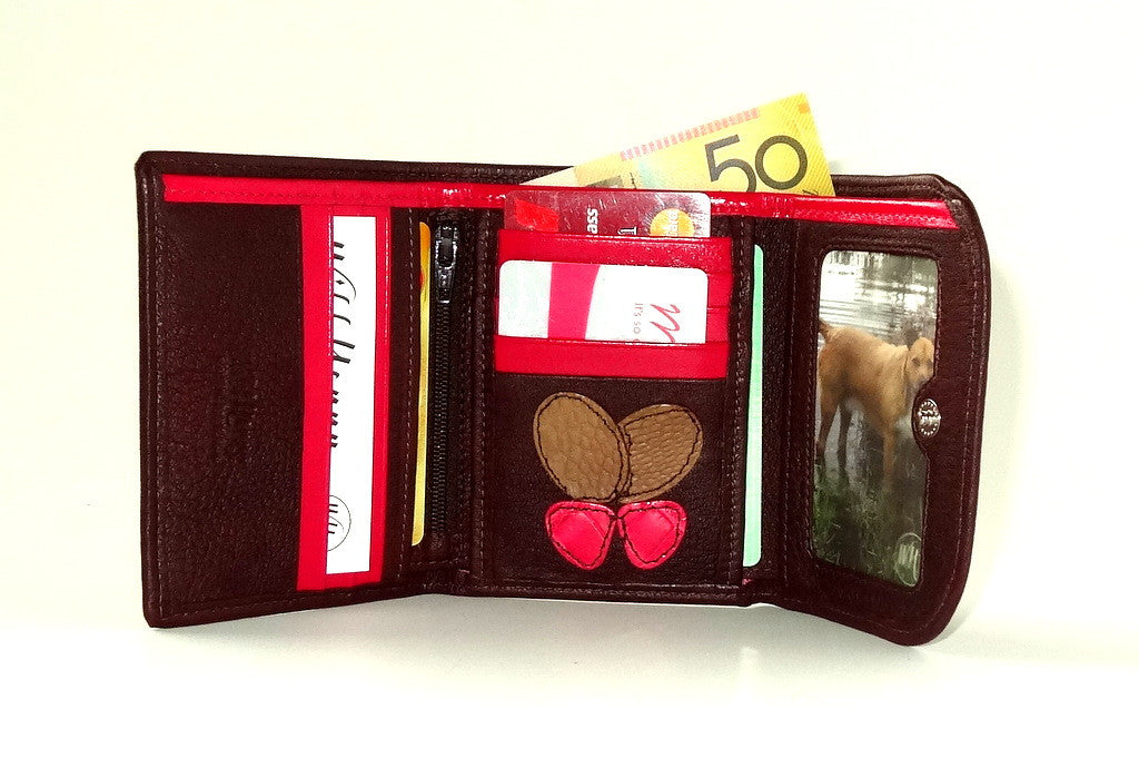 Dorothy  Trifold purse - Brown leather pink butterfly ladies wallet inside fully loaded
