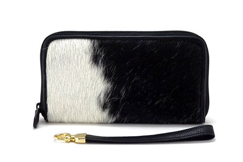 Victoria  Black & white hair on cowhide ladies zip around purse view side 2