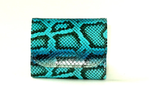 Dorothy  Trifold purse - Blue snake print leather ladies wallet front view