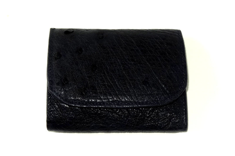 Dorothy  Trifold purse - Dark navy ostrich skin leather ladies wallet front view