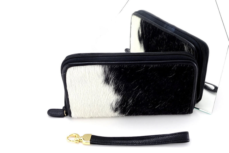 Victoria  Black & white hair on cowhide ladies zip around purse mirror image