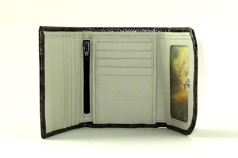 Dorothy  Trifold purse - Grey printed leather ladies wallet inside view