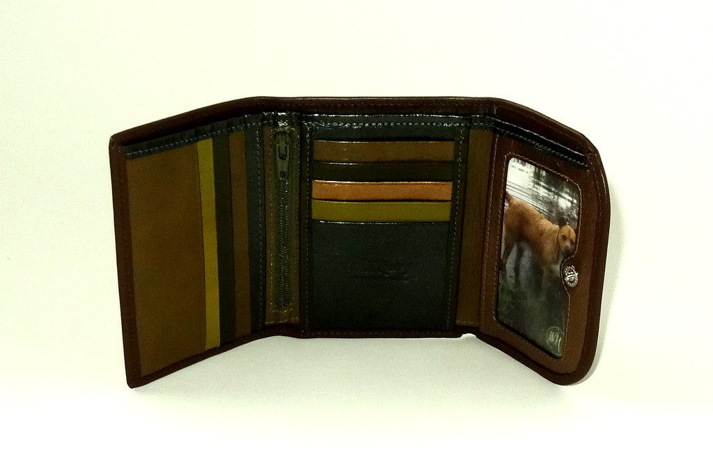 Dorothy  Trifold purse - Olive brown leather ladies wallet inside picture window