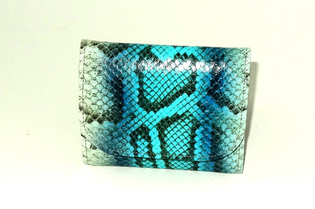 Dorothy  Trifold purse -Blue & white snake print leather ladies wallet