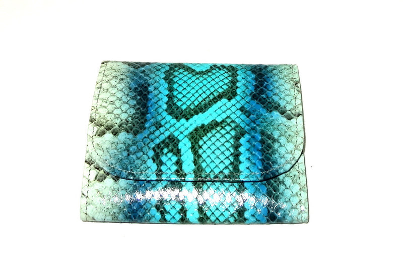 Dorothy  Trifold purse -Blue & white snake print leather ladies wallet front view