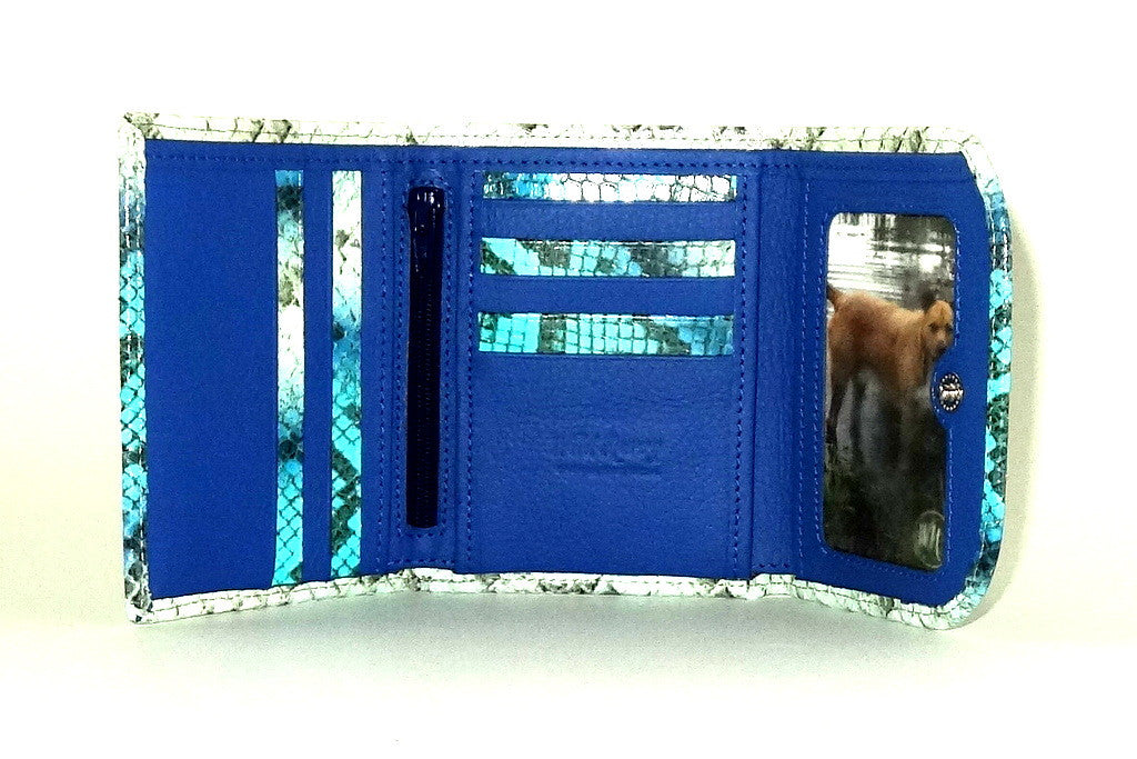 Dorothy  Trifold purse -Blue & white snake print leather ladies wallet inside picture window