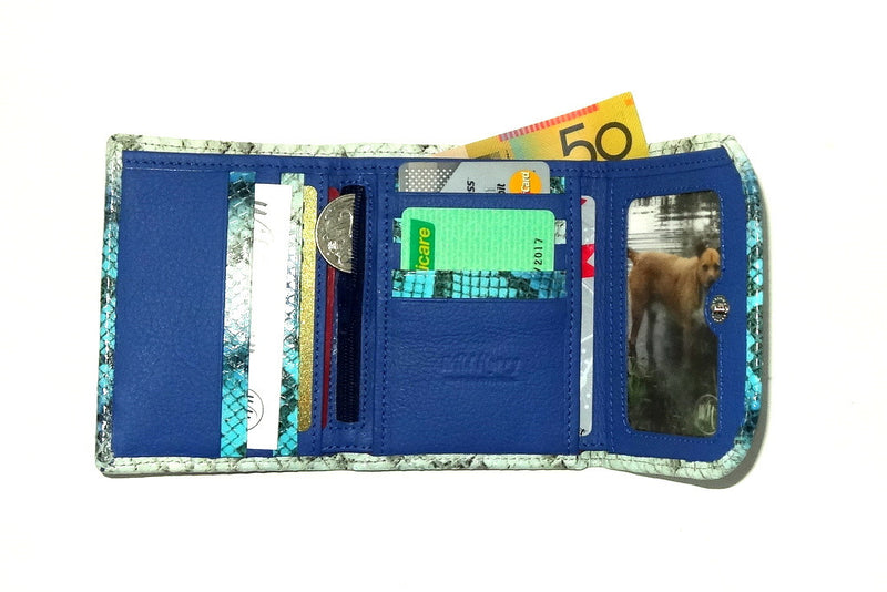 Dorothy  Trifold purse -Blue & white snake print leather ladies wallet inside loaded