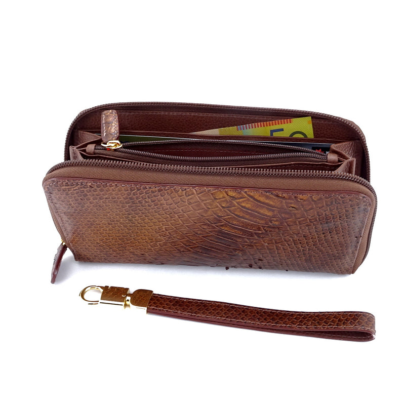 Victoria  Copper snake print leather ladies zip around purse zip opne
