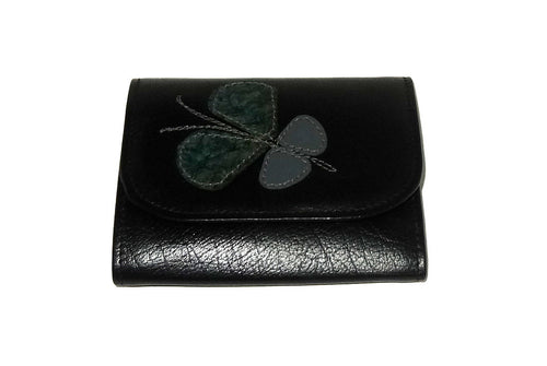 Dorothy  Trifold purse - Black leather Butterfly detail ladies wallet front view