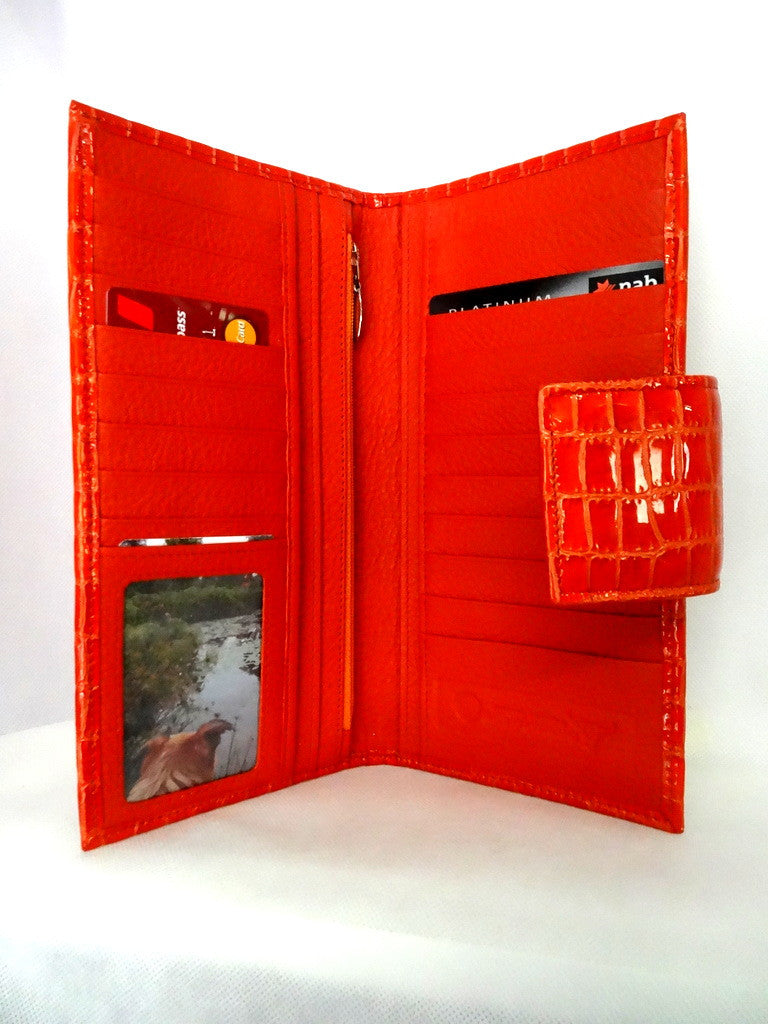 Willow  Orange foil leather orange internal large ladies purse inside pocket layout