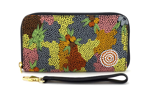 Victoria  Gum nut Aboriginal printed fabric ladies zip around purse view side 2