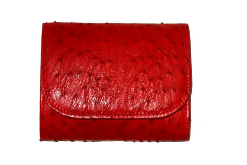 Dorothy  Trifold purse - Red ostrich skin leather ladies wallet front view