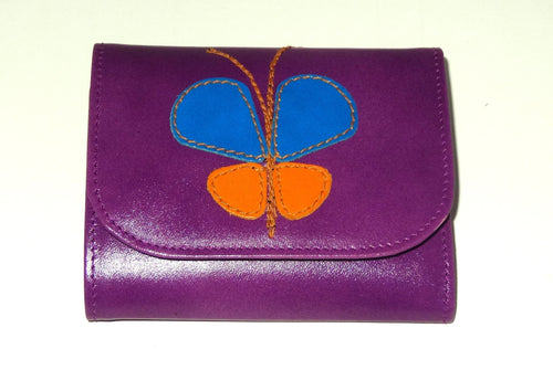 Dorothy  Trifold purse - Purple leather Butterfly detail ladies wallet front view