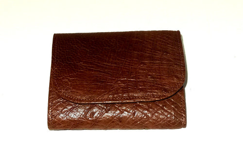 Dorothy  Trifold purse - Brown ostrich skin leather ladies wallet front view