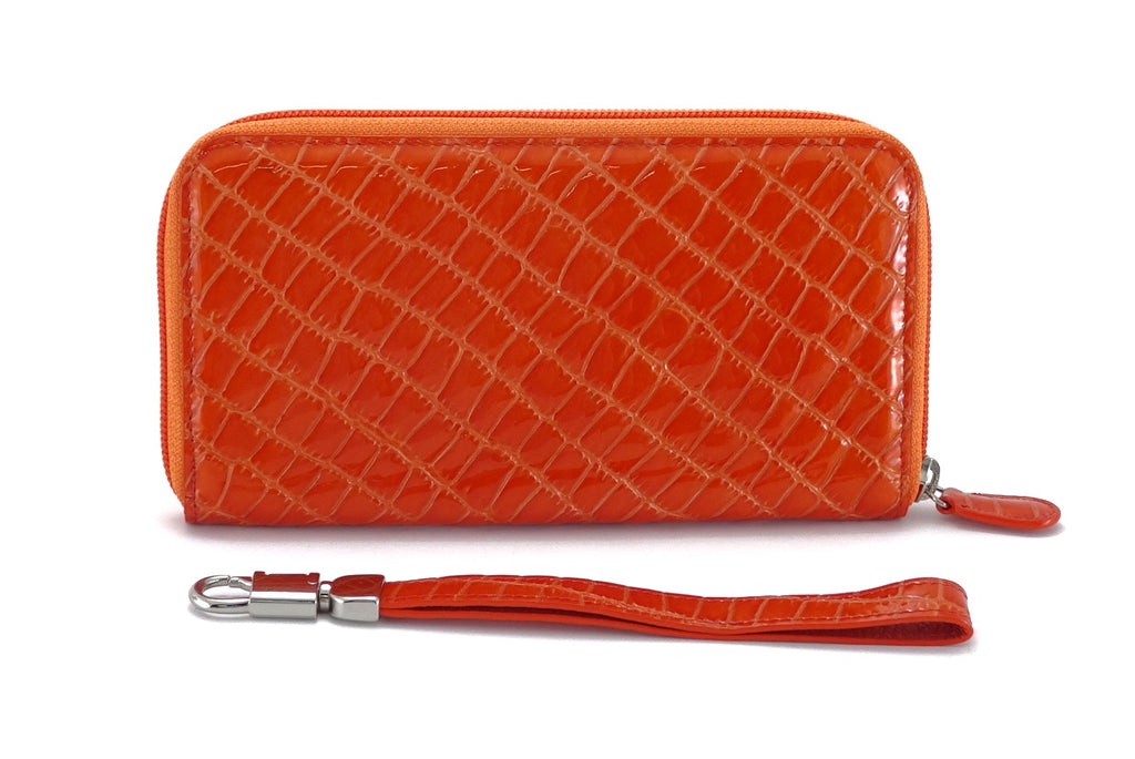 Victoria  Orange foil leather purple internal ladies zip around purse view side 1