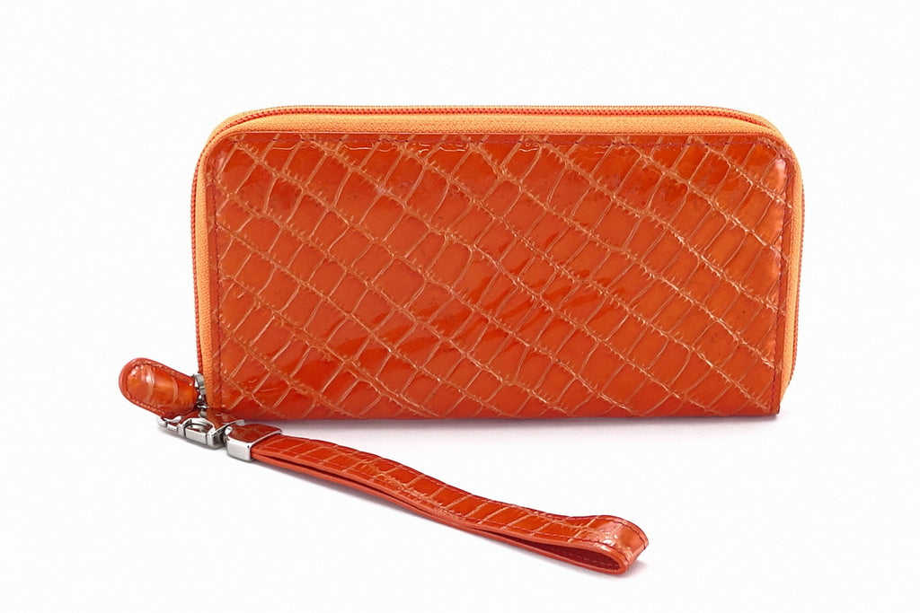 Victoria  Orange foil leather purple internal ladies zip around purse view side 2