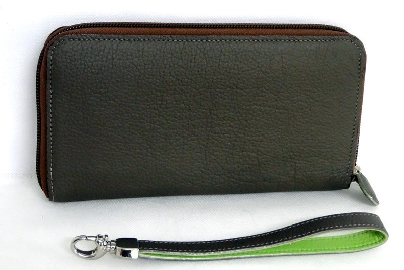 Donkey brown leather with lime ladies zip around purse side 2