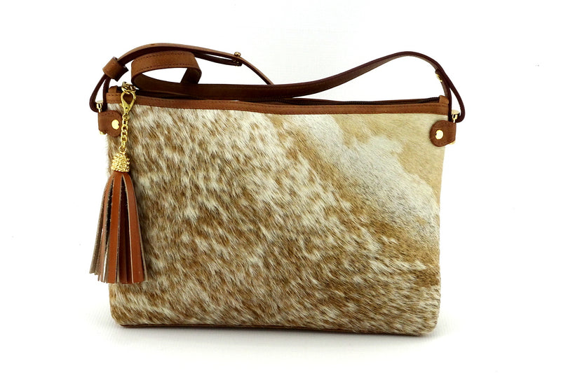 Rosie brown & cream flecked hair on hide tan leather small tote bag showing front side