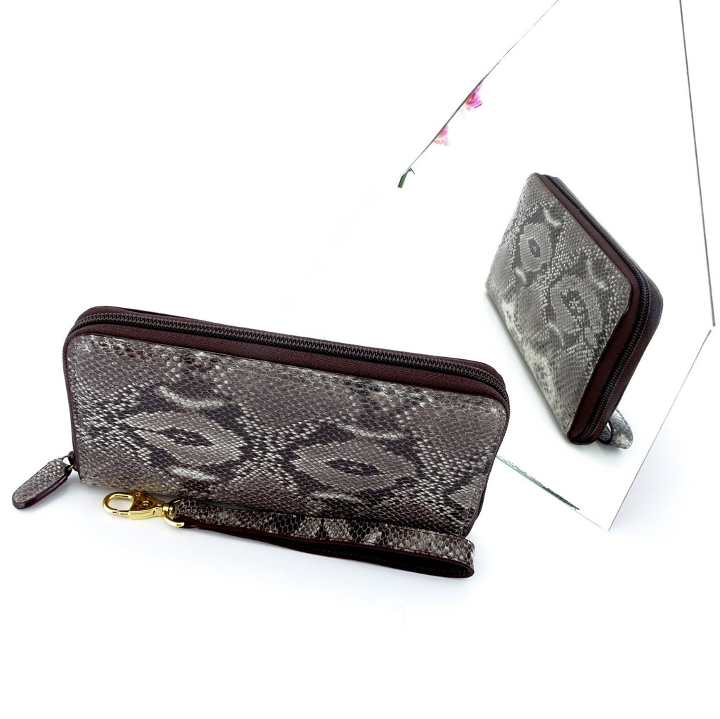 Victoria  Grey snake print leather gold ladies zip around purse mirror view