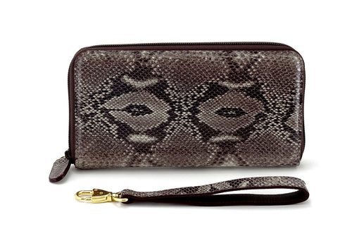 Victoria  Grey snake print leather gold ladies zip around purse view side 1