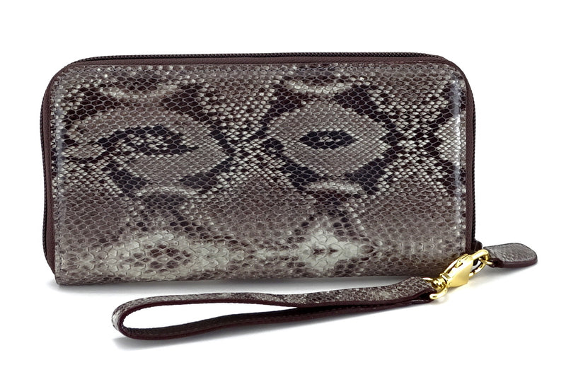 Victoria  Grey snake print leather gold ladies zip around purse view side 2