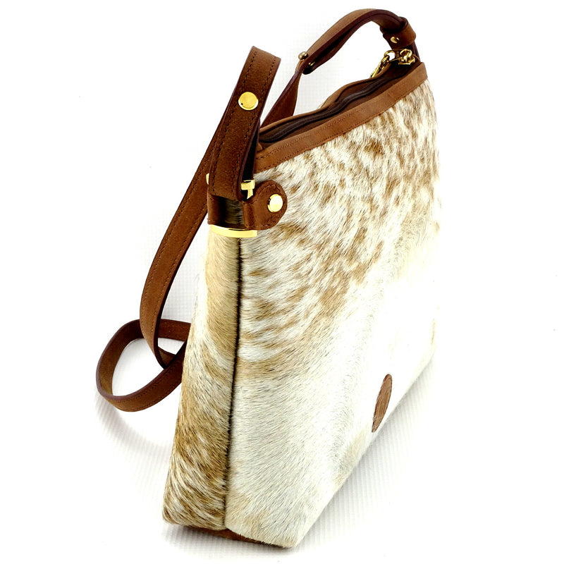 Rosie brown & cream flecked hair on hide tan leather small tote bag showing other end