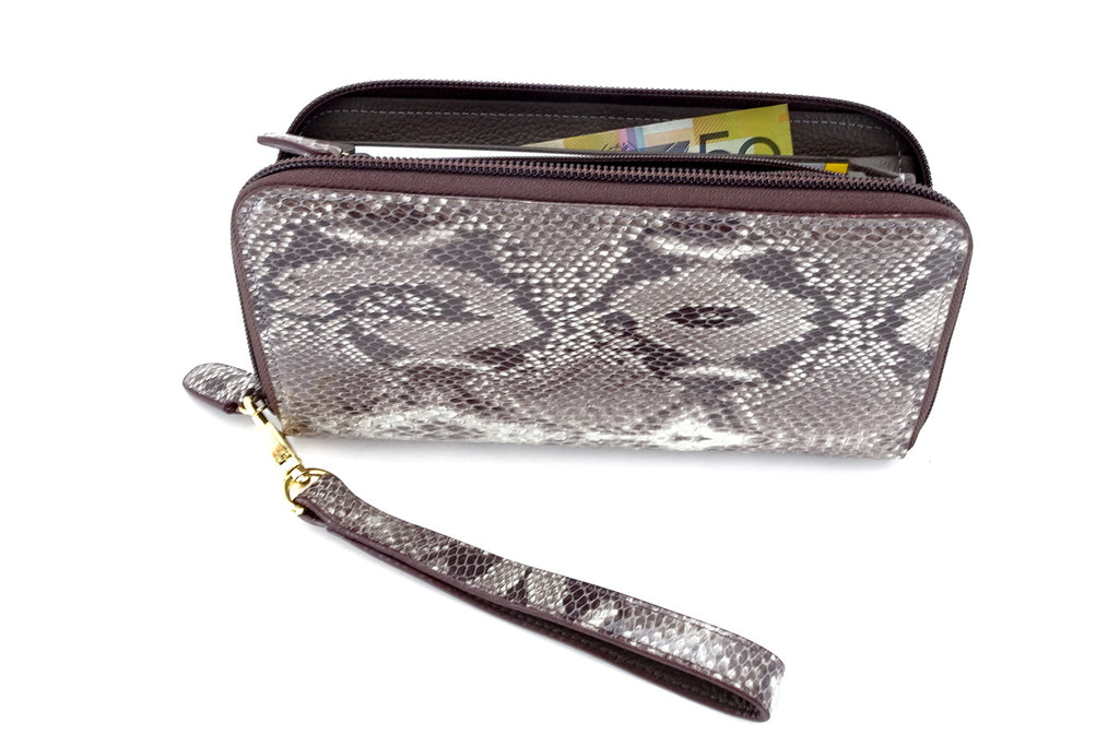 Victoria  Grey snake print leather gold ladies zip around purse side view zip open