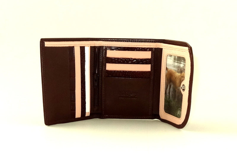 Dorothy  Trifold purse - Brown leather ladies wallet inside picture window