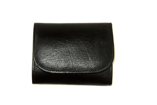 Dorothy  Trifold purse - Black leather purple inside ladies wallet front view