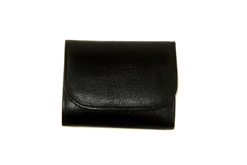 Dorothy  Trifold purse - Black leather purple inside ladies wallet