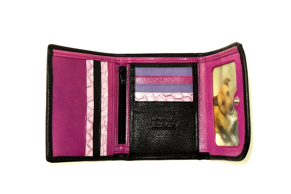 Dorothy  Trifold purse - Black leather purple inside ladies wallet insdie picture window