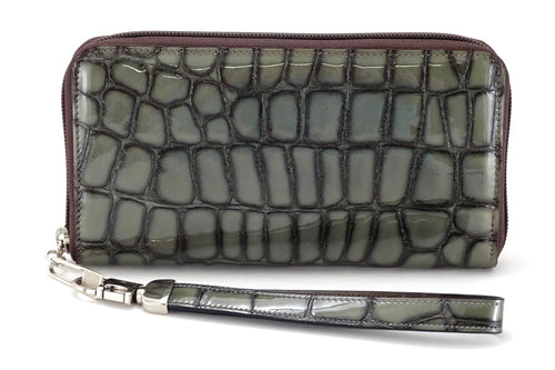 Victoria  Grey foil leather olive internal ladies zip around purse view side 2