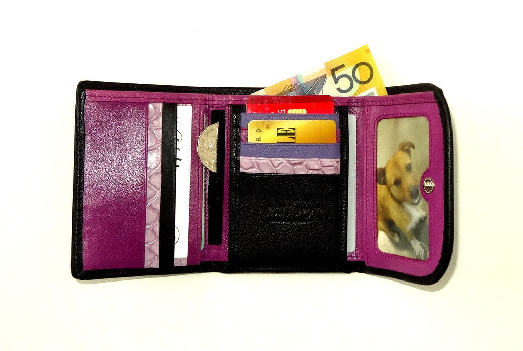 Dorothy  Trifold purse - Black leather purple inside ladies wallet inside fully loaded
