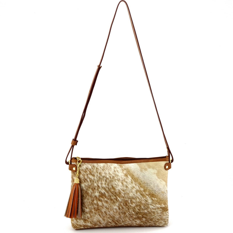 Rosie brown & cream flecked hair on hide tan leather small tote bag showing shoulder strap drop side 1