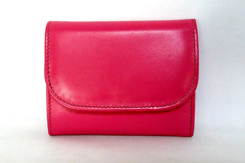 Dorothy  Trifold purse - pink leather ladies wallet front view