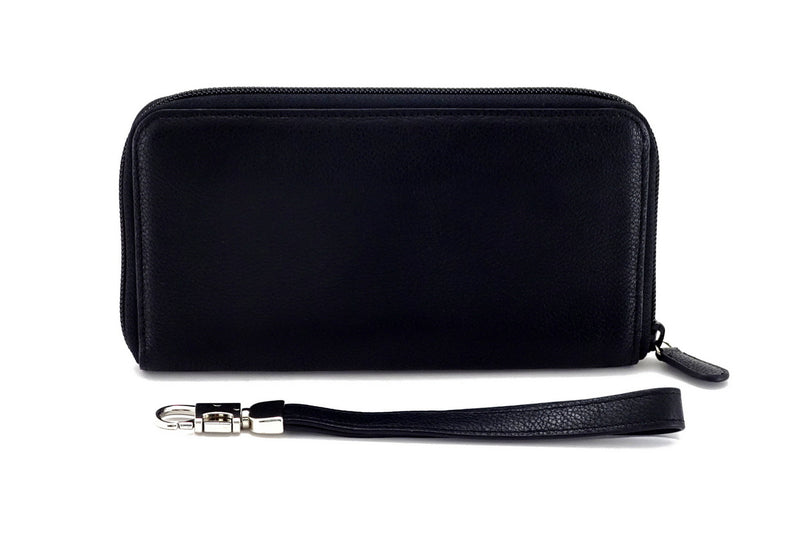 Victoria  Black leather with black internal zip around purse view side 2