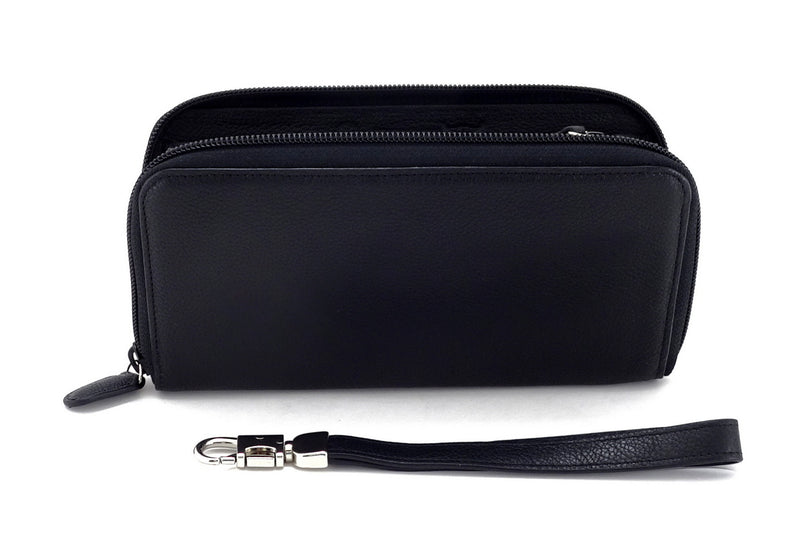 Victoria  Black leather with black internal zip around purse side view zip open