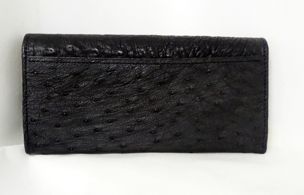 Caitlin  Black ostrich mango & orange detail ladies purse back pocket view
