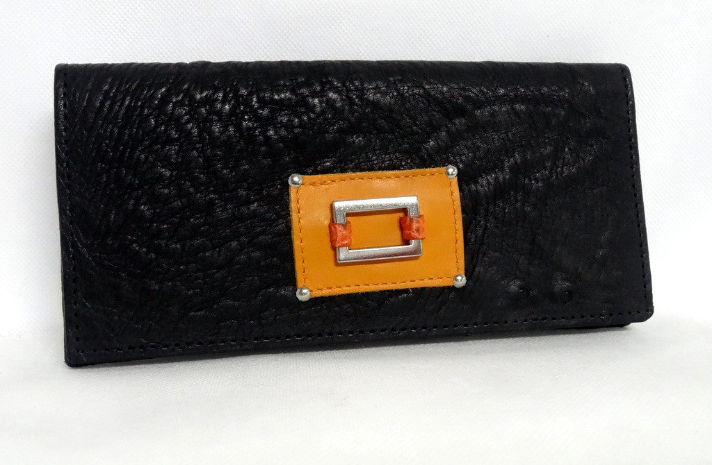 Caitlin  Black ostrich mango & orange detail ladies purse front view